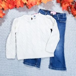 2/$24 Janie/Jack cream sweater/jeans outfit